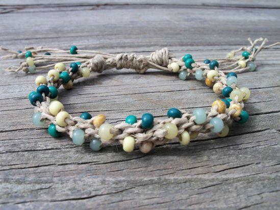 Kumihimo Braided Hemp and Glass Bead by FlowertownOriginals, $17.00