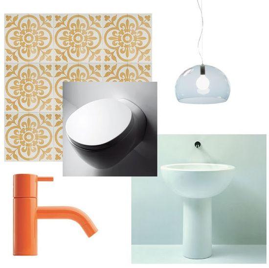 1970's inspiration for a modern bathroom! #design #bathroom #vola #colour #kartell