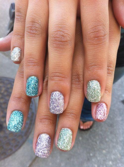 Pastel glitter Easter nails.