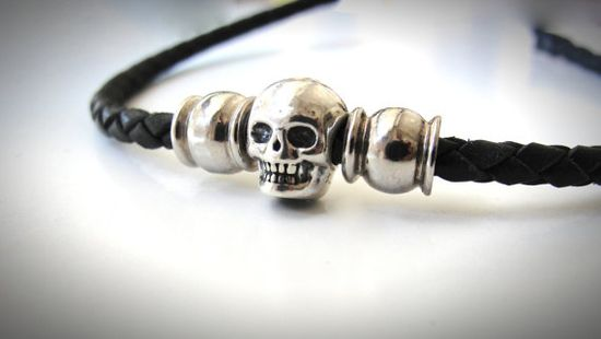 Solid Sterling Skull and Braided Leather Bracelet by JewelryByMaeBee on Etsy.