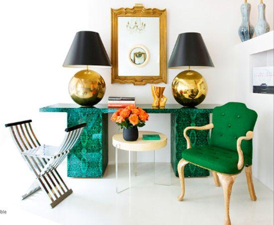malachite desk: green + gold perfection--image via 55 Browning Street