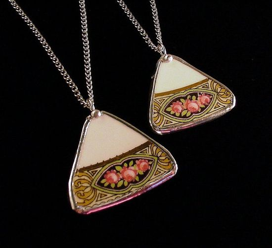Mother/daughter matching broken china jewelry necklaces by Dishfunctional Designs