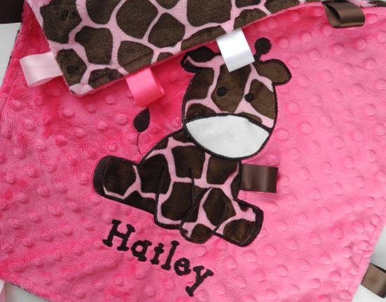 Personalized Baby Blanket Pink Giraffe Minky by TheCherryCheetahs, $22.99