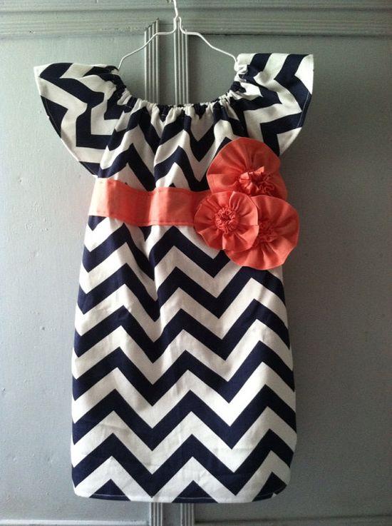 Custom 4T  Girl's Size 6 Navy Chevron Short Sleeve by LBHCreations, $32.50