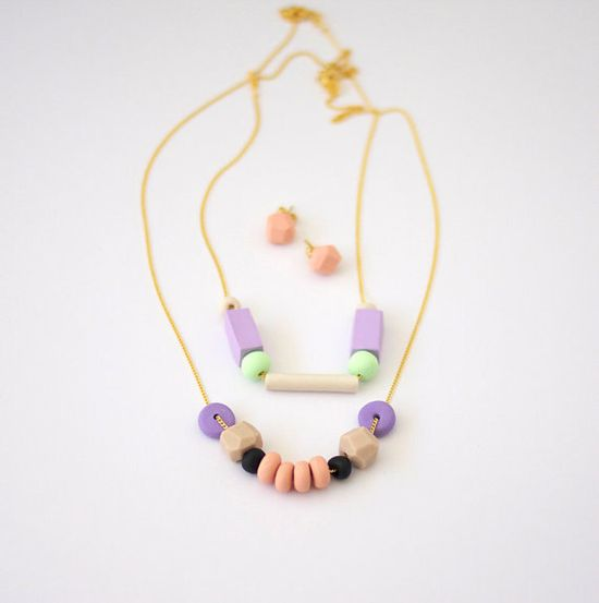 OOAK pastel bead necklaces by AMM jewelry