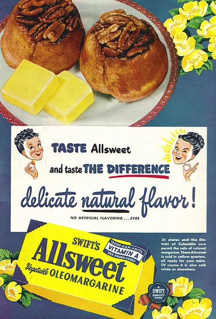 From the braided bun updos to the sunny, sweet buttercups, there's something so wonderfully charming about this vintage margarine ad. #vintage #ad #food #margarine #yellow #retro #baking #cooking #1950s