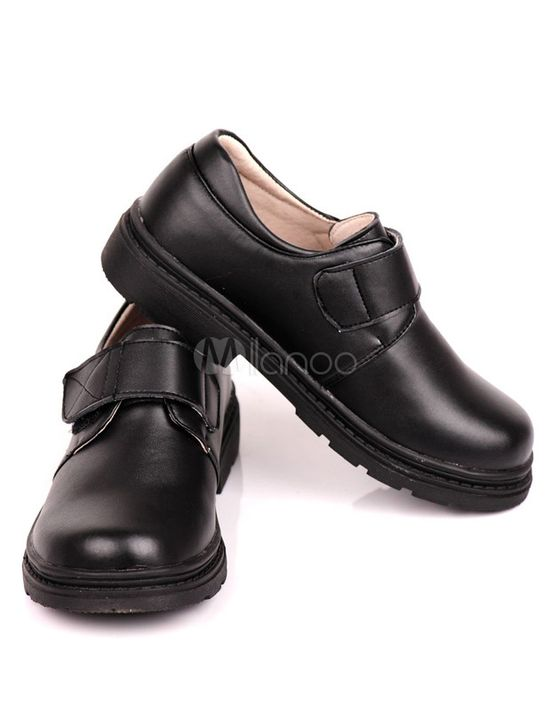 Casual Round Toe Lace Up Pigskin Velcro Boy's Fashion Shoes