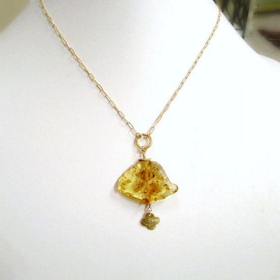 Yellow Amber Necklace Gold Jewelry November by jewelrybycarmal, $26.00