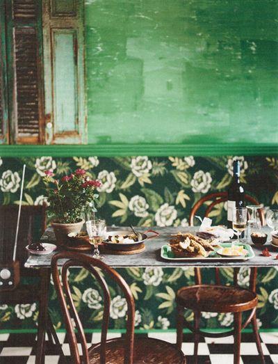 vintage feel + green + cherry wood