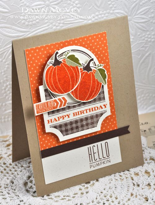 Whipping Up Scent-sational Cards Challenge - Hello Pumpkin Card by Dawn McVey for Papertrey Ink (August 2013)