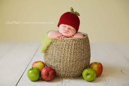 Apple of My Eye Baby Hat  Newborn Photography Prop by bekimaknits, $27.00