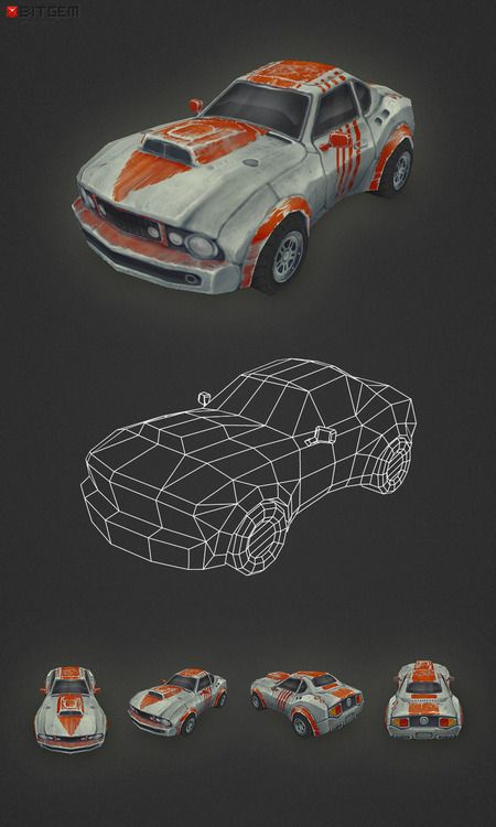 Low Poly Car  My first ever 3D car is done! Heavily influenced by Death Rally as one can probably tell. I know there is plenty of room for improvement but for a first I think it's quite ok :).
