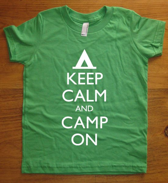 Camp Shirt - Keep Calm and Camp On - Keep Calm and Carry On - 7 Colors - Kids Tshirt Sizes 2T, 4T, 6, 8, 10, 12 - Gift Friendly