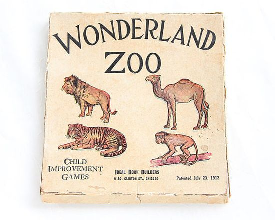Wonderland Zoo Child Improvement Games by Ideal Book Builders Patented 1912 via albrechtsantiques: Nice graphics! #Game #Kids #Vintage