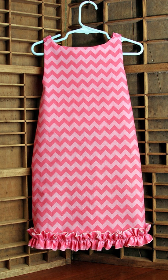 Little Girls Dress in Pink Chevron by SewManyRuffles on Etsy, $32.00