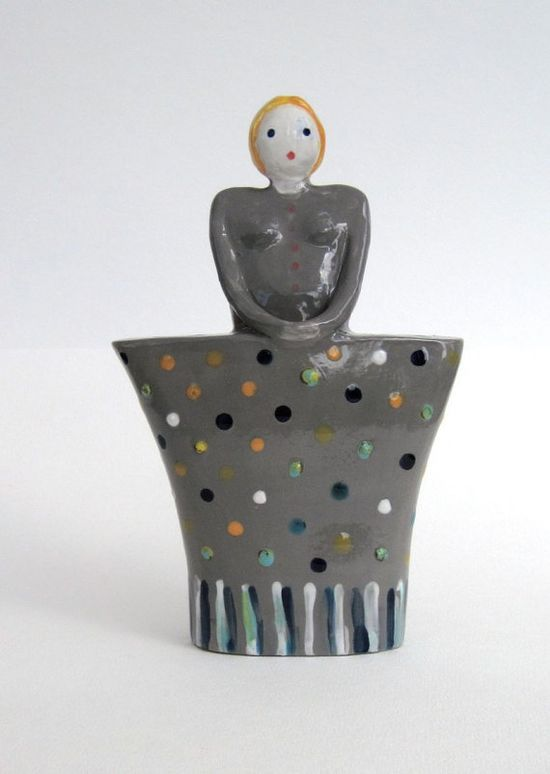 Flowergirl Vase / stoneware vase / hand made / by TatianasPottery
