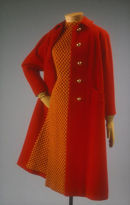 Day dress and coat, fall 1957  Anne Fogarty (American, 1919–1980)  Red wool twill #fashion #1950s #clothing