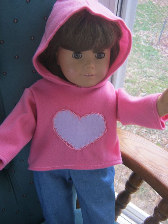 American Girl Clothes hoodie and jeans pink by babychickie on Etsy, $14.00