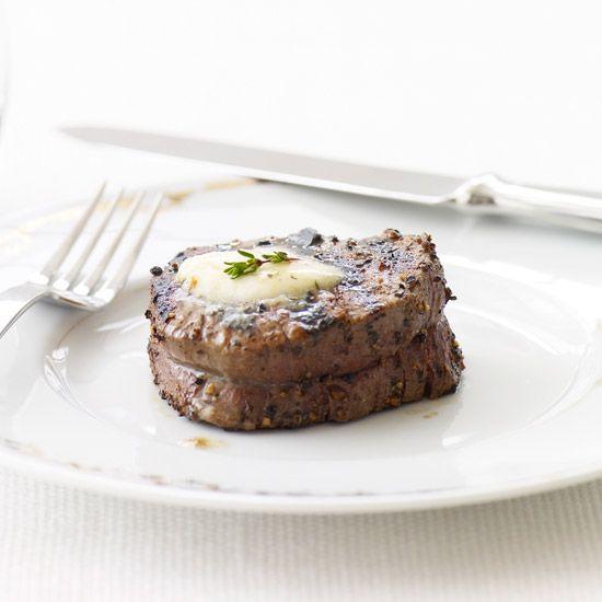 Peppered Beef Tenderloin with Roasted Garlic-Herb Butter // More Quick Grilling Recipes: www.foodandwine.c... #foodandwine