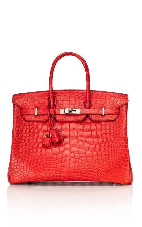 Hermès Rouge Indienne Alligator Matte Birkin 35 cm Bag