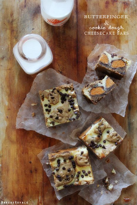 Butterfinger Cookie Dough Cheesecake Bars