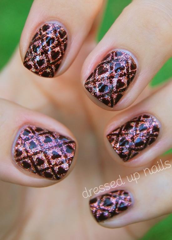 Striping tape and hearts nail art with glitter  nails, nails, nails