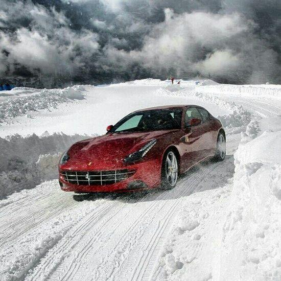 'Snow Play' with a Ferrari #customized cars #sport cars #ferrari vs lamborghini #luxury sports cars #celebritys sport cars