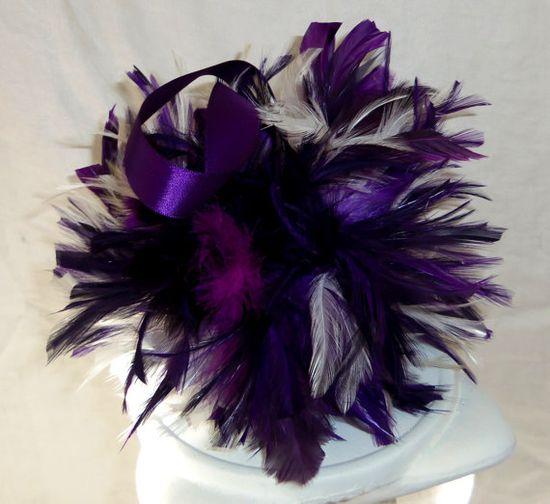 Purple Feather Pomander- Wedding Kissing Ball Via Etsy : by 3Mimis