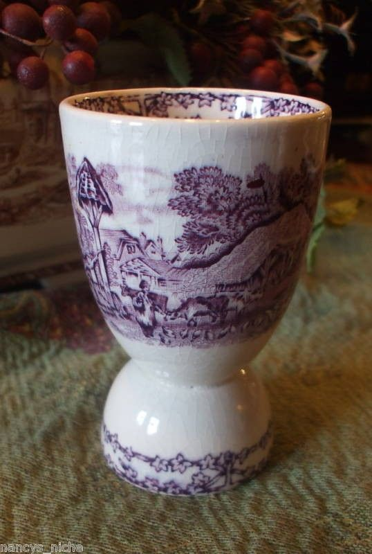 Purple transferware English egg cup. Rural by English Transferware.