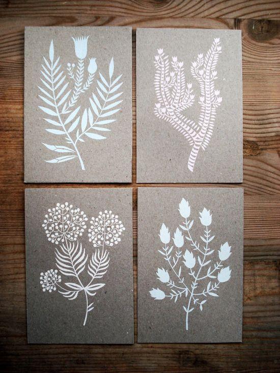 Screen printed cards. Botanical series, by KarolinSchnoor.