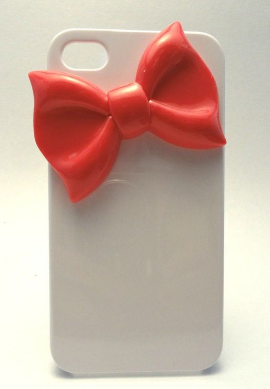 White Iphone 4 Case With Pink Bow, Bow Iphone 4 Case, Iphone Case