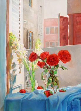 Roses on my Husband's scarf - Saatchi Online Artist Natalia Baykalova; (Russia/Egypt) #art