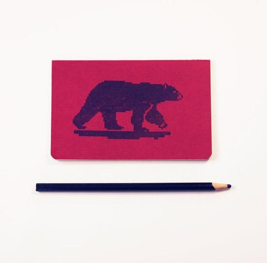Polar Bear moleskine sketch 8 bit geek by blackbirdandpeacock, $10.00