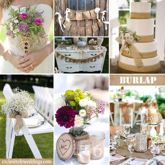 Burlap Wedding Decorations #exclusivelyweddings