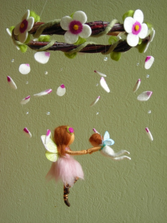 """Mobile """"A ballet scene with two fairies"""" - felted, waldorf inspired. $115.00, via Etsy."""