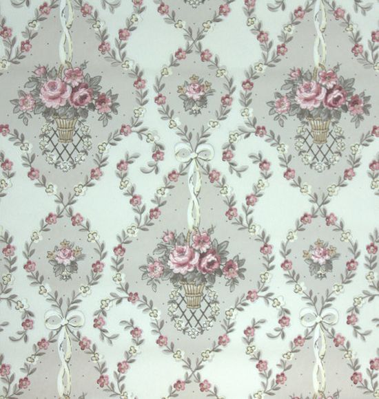 1940's Vintage Wallpaper PInk Roses in baskets with Ribbon on Etsy, $14.00