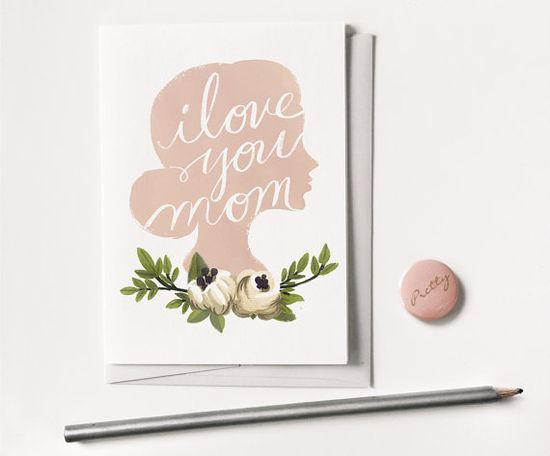 I Love You Mothers Day Card 1pc by QuillandFox on Etsy, $4.00