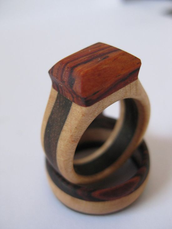 Womens Complimentary Triple Band Wood Ring - via Etsy.