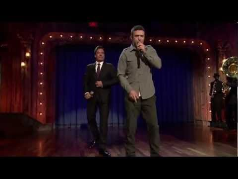 """Jimmy Fallon & Justin Timberlake - """"History of classics Rap""""  1.Kurtis Blow -The Breaks  2.Grandmaster Flash and the Furious Five - The Message  3.N.W.A.- Express Yourself  4.Public Enemy - Bring the Noise  5.Rob Base - it takes two  6.Salt-N-Pepa - Push it  7.Vanilla Ice-Ice? Ice Baby  8.Black Sheep - The Choice is yours  9.Cypress Hill"""
