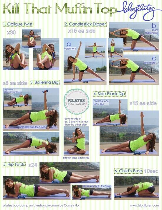 Muffin Top Pilates - ugh, we allllll have one!  YUCK!!!  Some great exercises to get rid of it!!  And add some Plexus Slim for toning!! www.plexusslim.co... Ambassador #142416