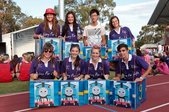 """relay in a train! -- Cute for the kids at relay. Make them cars and such to """"drive"""" around the track"""