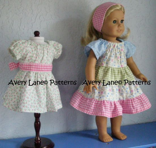 Ivy's Apron peasant Dress pattern  Boutique doll by AveryLane, $5.00