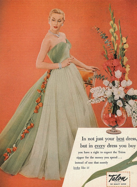 Gorgeous hues of 1950s honeydew and tangerine. #dress #gown #1950s #fashion #vintage