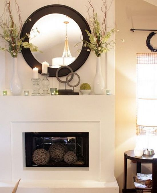 Awesome Mantle Design Model with Some Accessories: White Living Room With Spring Mantle Decor ~ flohomedesign.com Decorating Inspiration