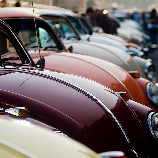 A sea of vibrantly hued love bugs :) #Volkswagen #Beetle #cars #vintage #retro