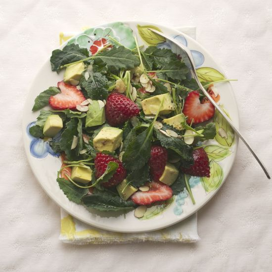 Baby Kale Salad with Strawberry and Avocado with a simple Lemon Vinaigrette.