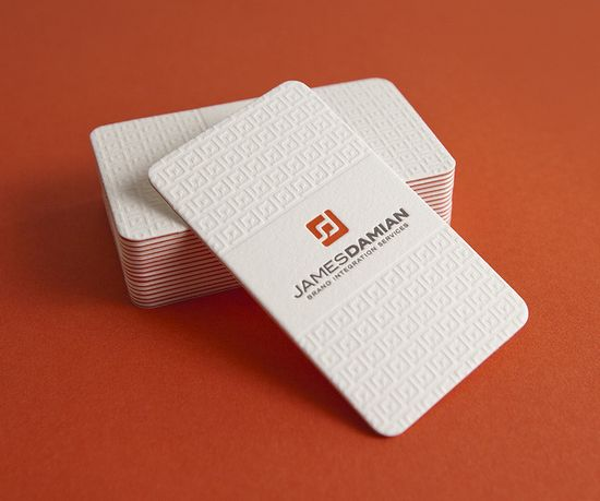 James Damian Business Cards    Letterpress with orange-red paper duplexed between two cotton card stocks.