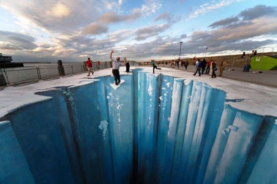 3D street art — alternatively known as pavement, chalk or sidewalk art — is a form of anamorphic art pioneered by American Kurt Wenner.  I want to go here!