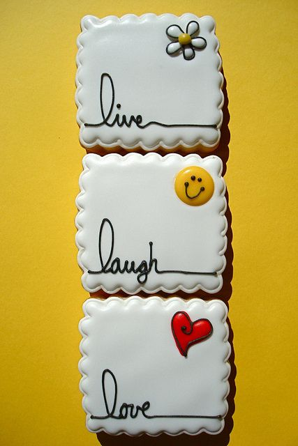 Live, Laugh, Love!! by cookie cutter creations (jennifer), via Flickr.  LOVE this pretty white cookie!