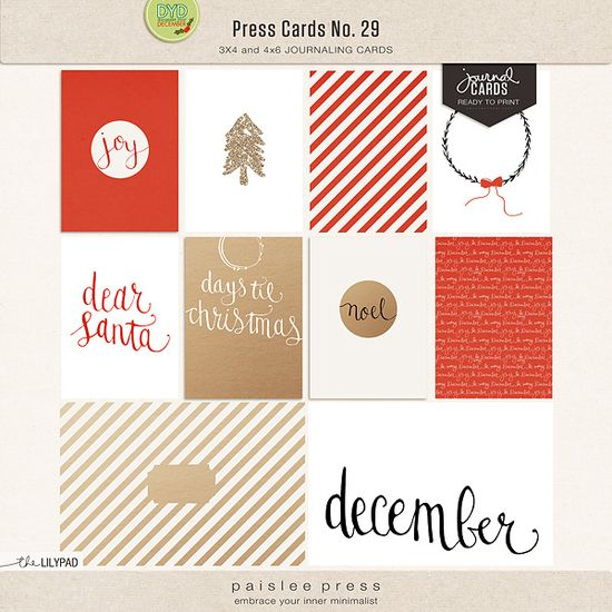 Christmas Themed Journal Cards (3x4 and 4x6) by paislee press